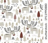 seamless childish forest... | Shutterstock .eps vector #1911990880
