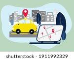car gps tracker in the city... | Shutterstock . vector #1911992329