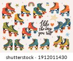 vector set with colored roller... | Shutterstock .eps vector #1912011430