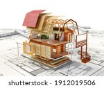 cottage construction on blue... | Shutterstock . vector #1912019506