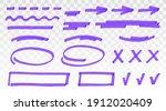 purple highlighter set   lines  ... | Shutterstock .eps vector #1912020409