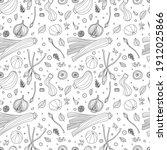 seamless pattern of vegetables... | Shutterstock .eps vector #1912025866