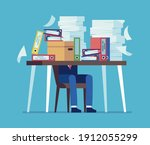 accounting documents piles.... | Shutterstock .eps vector #1912055299