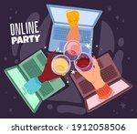 online drinking. remote... | Shutterstock .eps vector #1912058506