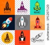 vector rocket collection. set... | Shutterstock .eps vector #191207120