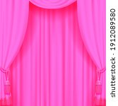 light pink curtain with tassels.... | Shutterstock .eps vector #1912089580