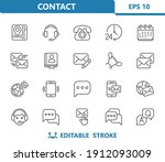 contact icons. professional ... | Shutterstock .eps vector #1912093009