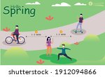 people outside at spring city... | Shutterstock .eps vector #1912094866