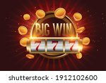 realistic big win slot with... | Shutterstock .eps vector #1912102600