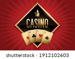 casino banner with golden cards ... | Shutterstock .eps vector #1912102603