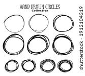 hand drawn circle scribbles set ...   Shutterstock .eps vector #1912104319