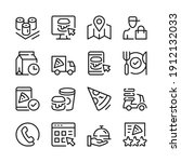food delivery line icons set.... | Shutterstock .eps vector #1912132033