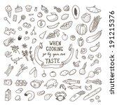hand drawn food set. vector... | Shutterstock .eps vector #191215376