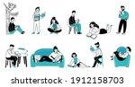 people read books. girl reading ... | Shutterstock .eps vector #1912158703