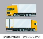 cargo truck two angle set....   Shutterstock .eps vector #1912172590