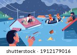 flood disaster evacuation by... | Shutterstock .eps vector #1912179016