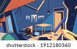 houses damaged by the... | Shutterstock .eps vector #1912180360