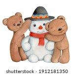 Cute Teddy Bears And Snowman....