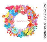 cheerful floral card with... | Shutterstock .eps vector #1912261093