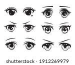 set of cute anime eyes.... | Shutterstock .eps vector #1912269979