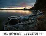 Icy Frozen Shore Of The Lake In ...