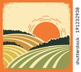 agriculture,background,countryside,farm,farmer,farming,field,hills,illustration,label,land,landscape,nature,organic,retro