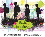 back to school. silhouette of a ... | Shutterstock .eps vector #1912335070
