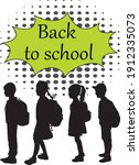 back to school. silhouette of a ... | Shutterstock .eps vector #1912335073