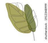 palm leaf line art. contour... | Shutterstock .eps vector #1912348999