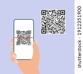 qr code. hand hold mobile phone ...