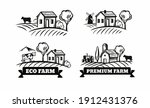 farm emblems with mill and cow | Shutterstock .eps vector #1912431376
