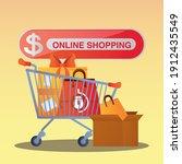 online shopping button cart... | Shutterstock .eps vector #1912435549