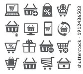 online shopping icons on white... | Shutterstock . vector #1912436503