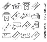 ticket and coupon line icons on ...   Shutterstock . vector #1912436860