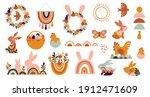 boho easter concept design ... | Shutterstock .eps vector #1912471609