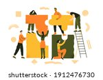 people put the puzzle together. ... | Shutterstock .eps vector #1912476730