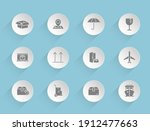 delivery vector icons on round...