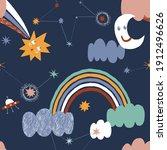 cosmic rainbow comet star moon... | Shutterstock .eps vector #1912496626