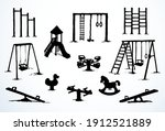 wood empty rope hang metal ring ... | Shutterstock .eps vector #1912521889