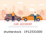 car crash. auto accident with... | Shutterstock .eps vector #1912531000