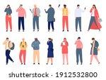 crowd holding smartphone.... | Shutterstock .eps vector #1912532800