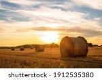 Evening Landscape Of Straw...