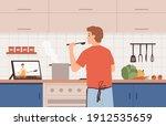 watch video recipe. man cooking ... | Shutterstock .eps vector #1912535659