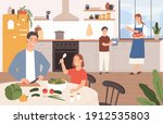 family cooking together. happy... | Shutterstock .eps vector #1912535803