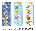 kids height chart. cartoon wall ... | Shutterstock .eps vector #1912536379