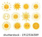 sun characters. cartoon... | Shutterstock .eps vector #1912536589