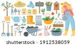 gardening tools. spring garden... | Shutterstock .eps vector #1912538059
