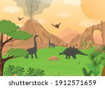 cartoon color dinosaurs and... | Shutterstock .eps vector #1912571659