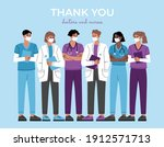 thank you doctors  nurses and... | Shutterstock .eps vector #1912571713