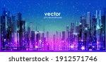 urban cityscape at night.... | Shutterstock .eps vector #1912571746